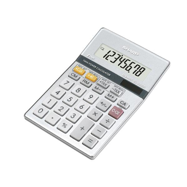 Sharp Silver 8-Digit Semi-Desktop Calculator EL-330ERB