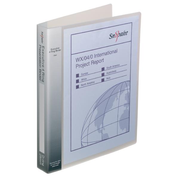 Snopake Executive Presentation 4D-Ring A4 Binder Clear 13386
