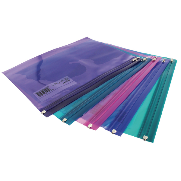 Snopake A4 Electra Assorted Zippa Bags (Pack of 25) 14141