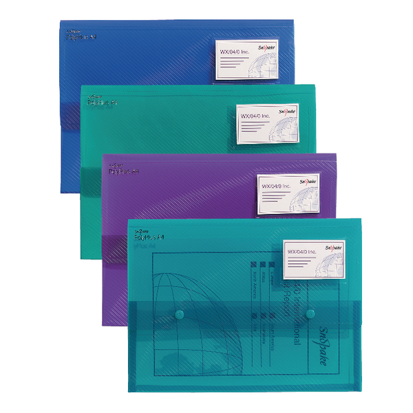 Snopake PolyPlus A4 Electra Assorted Wallet Pack of 5 11756