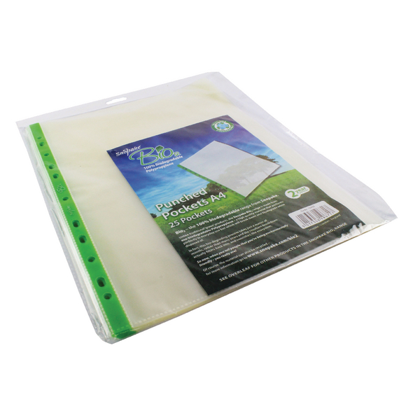 Snopake Bio<sub>2</sub> A4 Punched Pocket Clear (Pack of 25) 15439