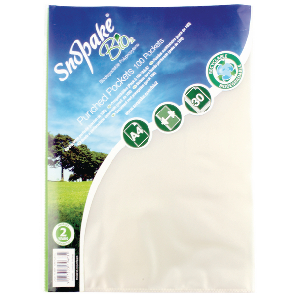 Snopake Bio<sub>2</sub> A4 Punched Pocket Clear (Pack of 100) 15440