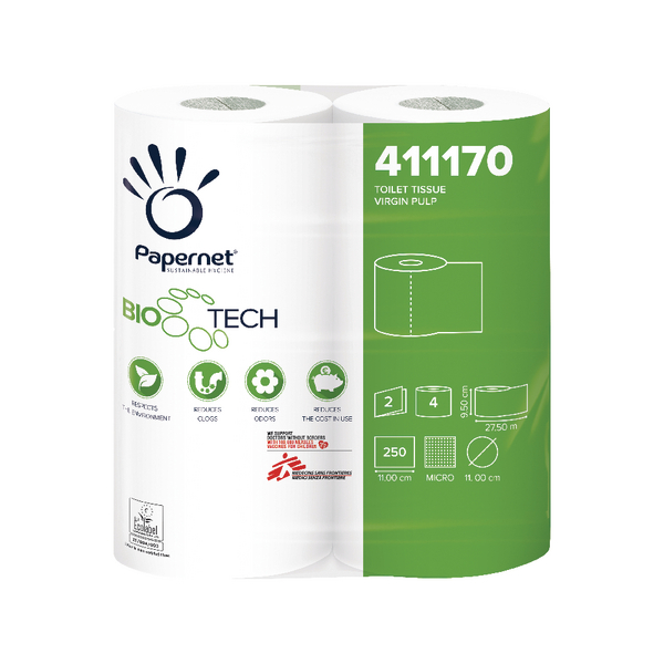 Bio Tech Toilet Roll 2-Ply 250 Sheets Pack of 48 411170