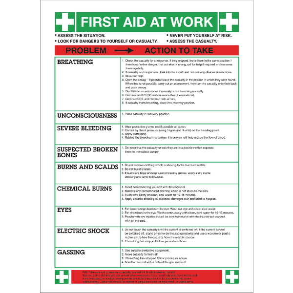 Safety Sign First Aid at Work 420x590mm WC61
