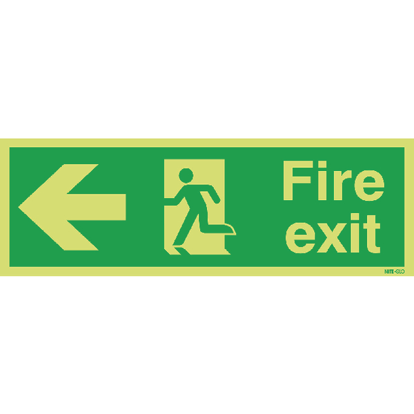 Safety Sign Niteglo Fire Exit Running Man Arrow Left 150x450mm PVC FX04311M