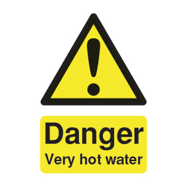 Safety Sign Danger Very Hot Water 75x50mm PVC HA17343R
