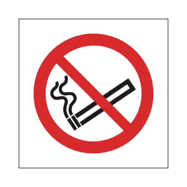 Safety Sign No Smoking Symbol 100x100mm Self-Adhesive (Pack of 5) KP01N/S