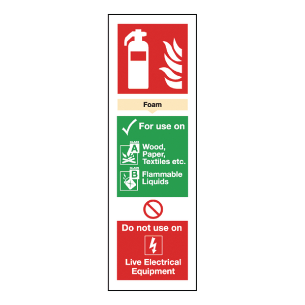 Safety Sign Fire Extinguisher Foam 280x90mm Self-Adhesive F202/S
