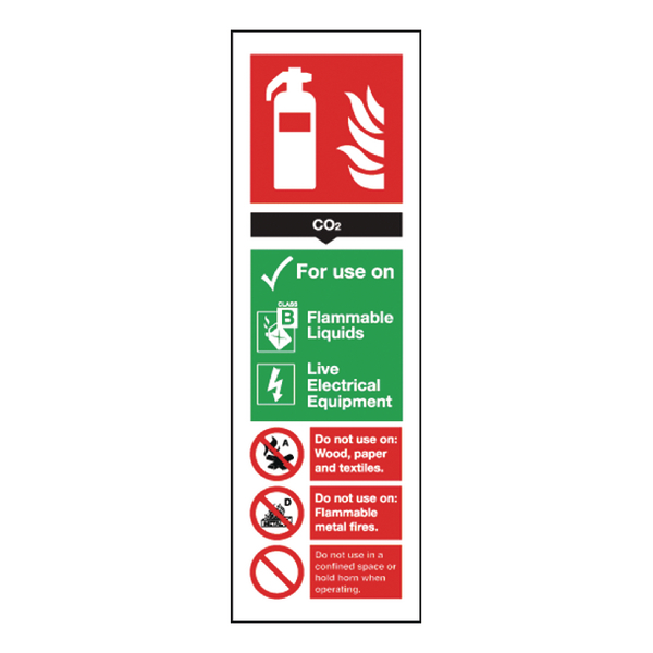 Safety Sign Carbon Dioxide Fire Extinguisher 280x90mm Self-Adhesive F203/S