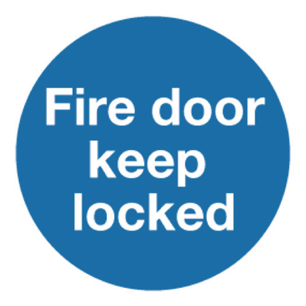 Safety Sign Fire Door Keep Locked 100x100mm Self-Adhesive (5 Pack) KM72A/S