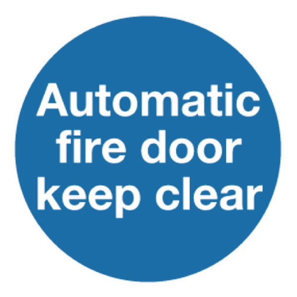 Safety Sign Automatic Fire Door 100x100mm Self-Adhesive (5 Pack) KM73AS