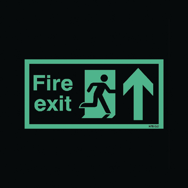 Safety Sign Niteglo Fire Exit Running Man Arrow Up 150x450mm Self-Adhesive NG24A/S