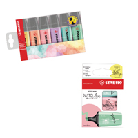 Stabilo Highlighters Assorted Pastel (Pack of 6) with Free Pack of 3 Pastellove Highlighters
