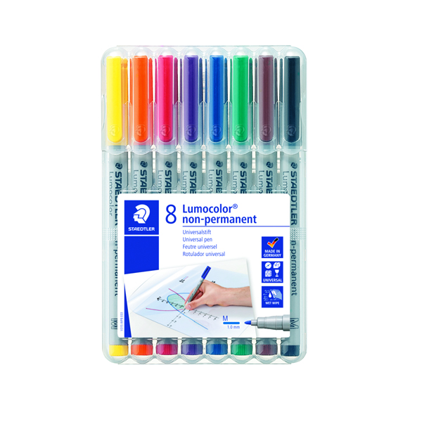 Image for Staedtler Lumocolor Medium Tip Water Soluble OHP Pen Assorted (8 Pack) 315-WP8