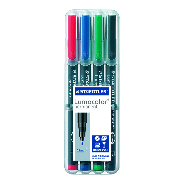 Staedtler Lumocolor Assorted Fine Tip Permanent OHP Pen (4 Pack) 318-WP4