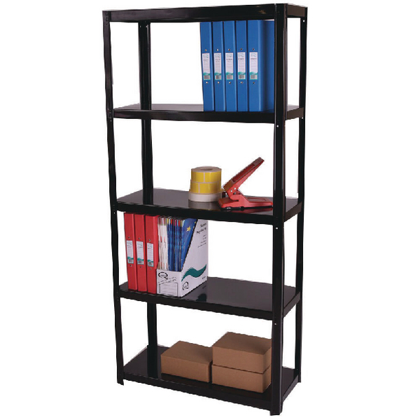 Storage Solutions Light Duty Boltless 5-Shelf Unit Black ZZLS5BK150B07030