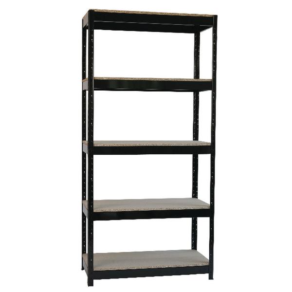 Image for Storage Solutions Black Heavy Duty Boltless 5-Shelf Unit