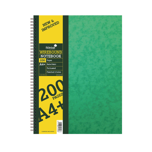 Silvine Wirebound A4 Notebook 100 Leaf Ruled Feint (Pack of 6) SPA4FEINT