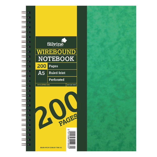 Silvine Wirebound A5 Notebook 100 Leaf Ruled Feint (Pack of 6) SPA5