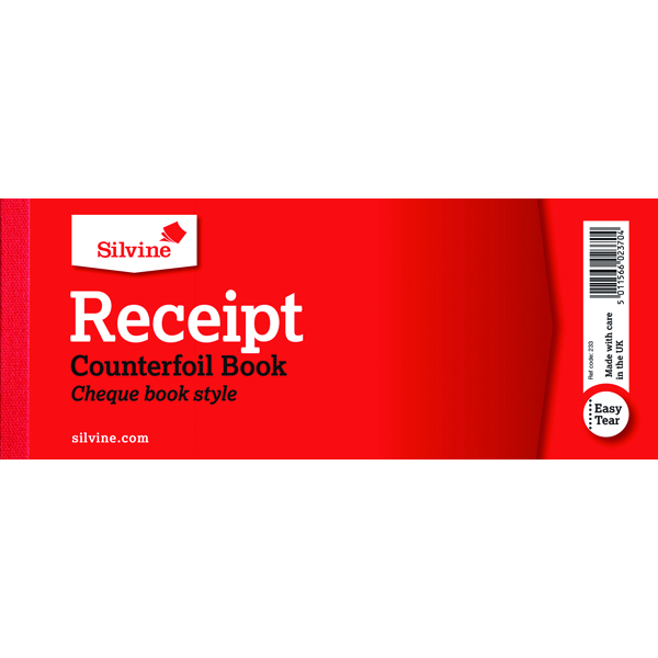Silvine Receipt Book 80x202mm With Counterfoil (36 Pack) 233