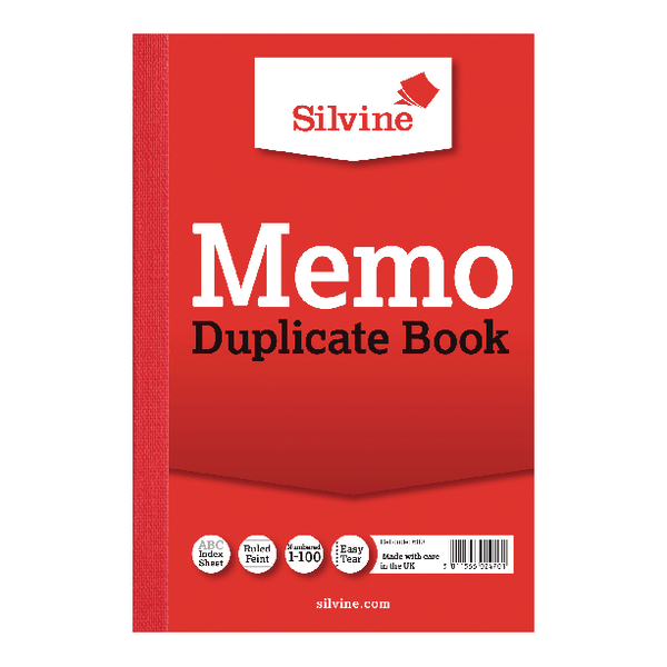 Image for Silvine Duplicate Book 152x102mm Memo Ruled (Pack of 12) 600