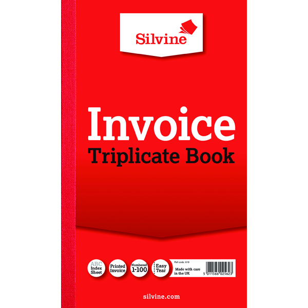 Silvine Triplicate Invoice Book 210x127mm (Pack of 6) 619