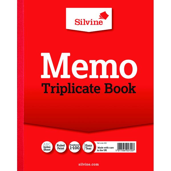 Silvine Triplicate Memo Book 254x203mm (Pack of 6) 606