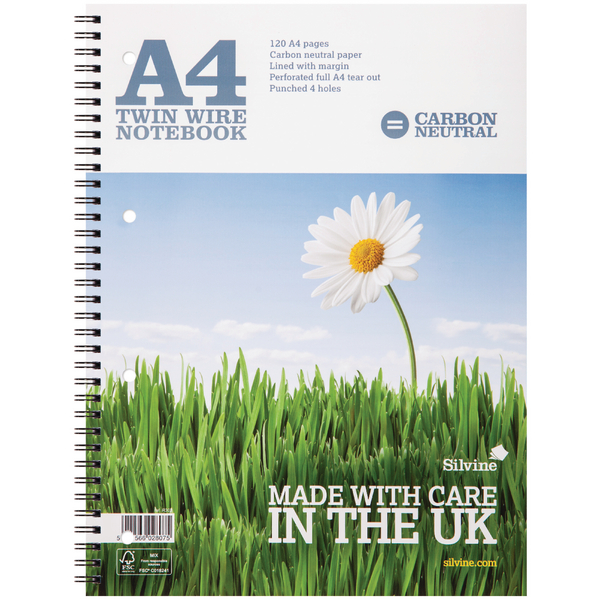 Silvine Carbon Neutral A4 Twin Wire Notebook 120 Pages Ruled With Margin (Pack of 5) R302