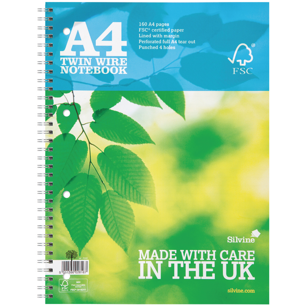 Silvine Twin Wire Notebook Blue A4 160 Pages Ruled With Margin (Pack of 5) R202