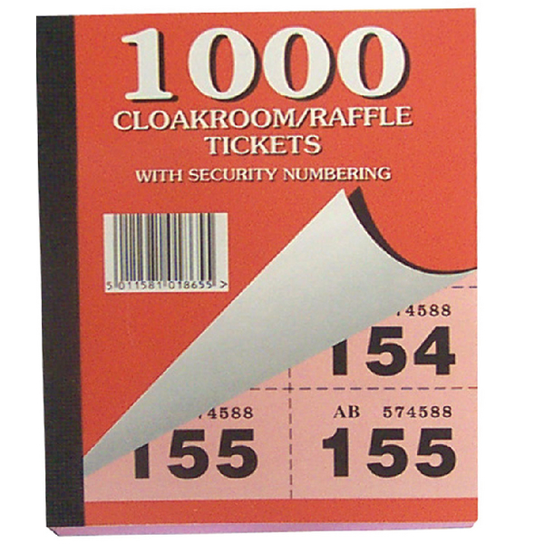 Cloakroom and Raffle Tickets 1-1000 (Pack of 6) 00277