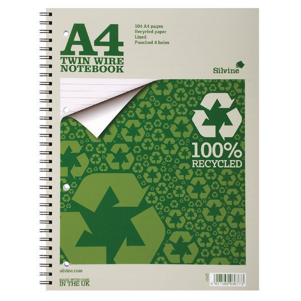 Silvine A4 Everyday Recycled Wiro Notebook 104 Pages Feint Ruled (12 Pack) TWRE80
