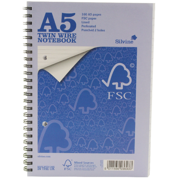 Silvine A5 Twin Wire Notebook 160 Pages Feint Ruled (Pack of 5) FSCTWA5