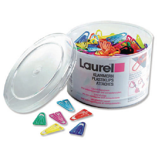 Plastic Paperclips 35mm Assorted Pack of 200 126130399