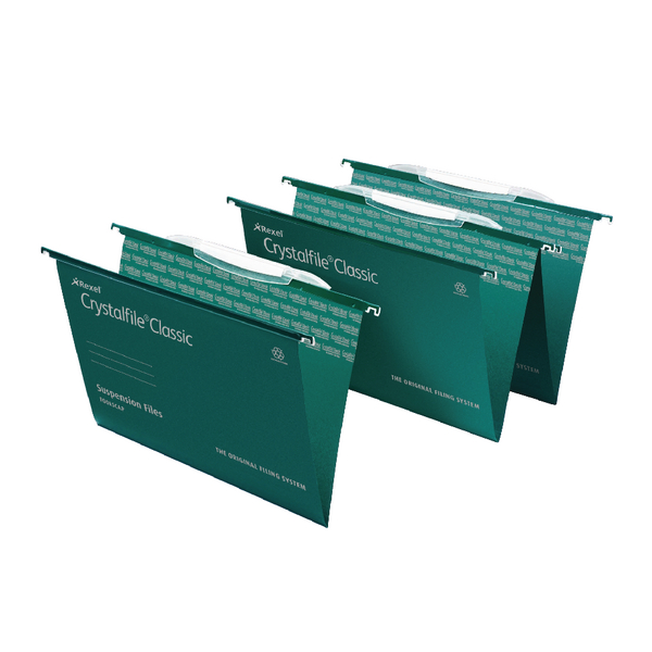 Rexel Crystalfile Classic Foolscap Green Suspension File with Crystal Links Pack of 50 3000030