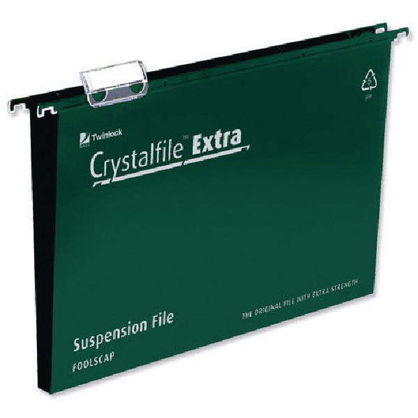 Rexel Crystalfile Extra Suspension File Foolscap Green 50mm (Pack of 25) 3000112