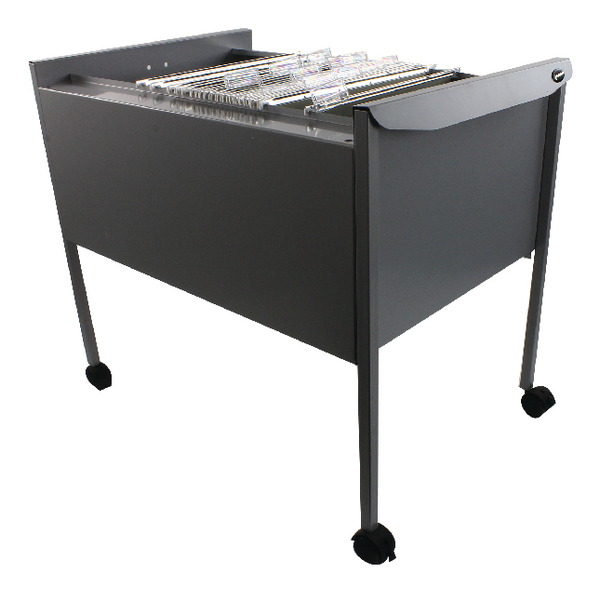 Rexel Twinlock Mobile Filing Trolley Titanium Grey 50559