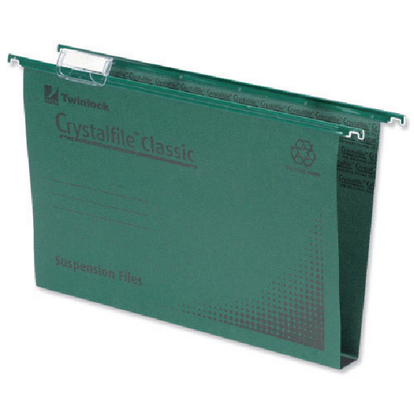 Rexel Crystalfile Classic Complete 30mm A4 Green Suspension File (Pack of 50) 70621