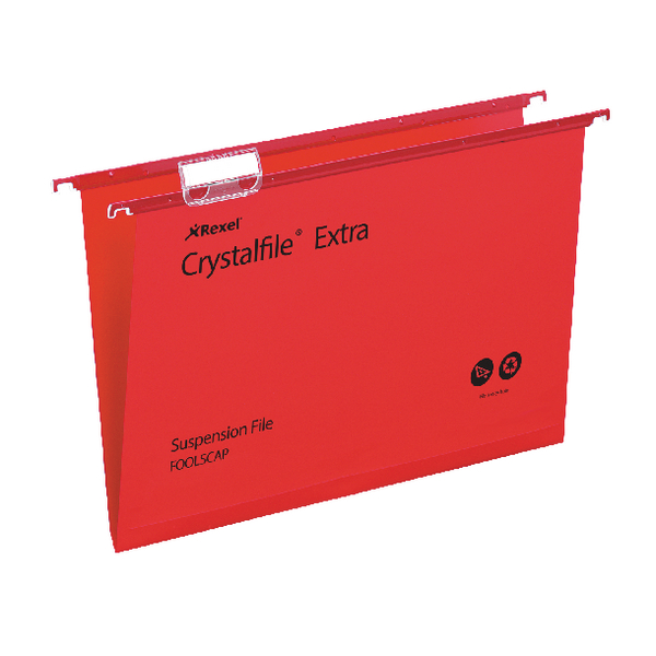 Rexel Crystalfile Extra Suspension Foolscap File Red (Pack of 25) 70629