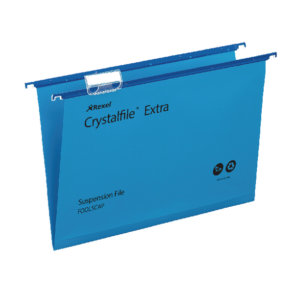 Rexel Crystalfile Extra Suspension File 30mm Foolscap Blue (Pack of 25) 70630