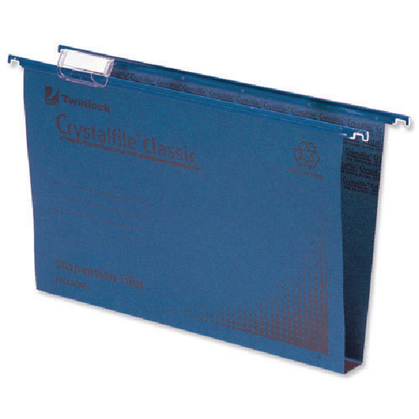 Rexel Crystalfile Classic Complete 50mm Foolscap Blue Suspension File (Pack of 50) 71751