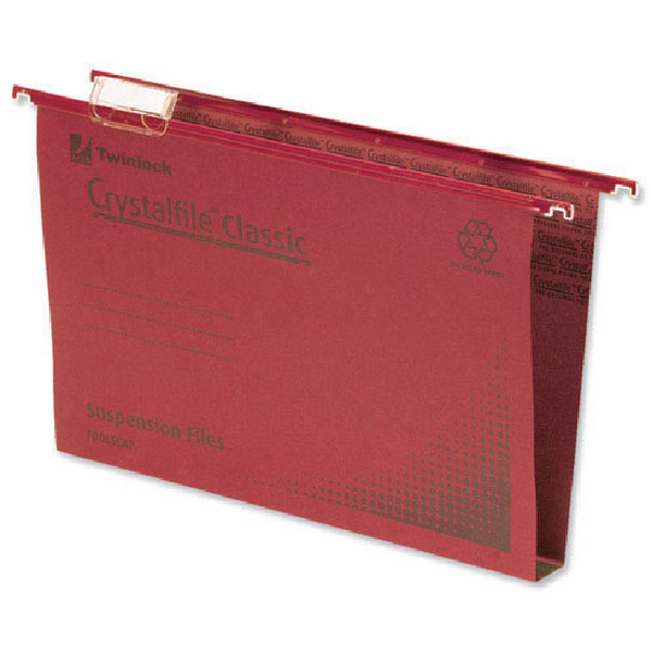 Rexel Crystalfile Classic Complete 50mm Foolscap Red Suspension File (Pack of 50) 71752
