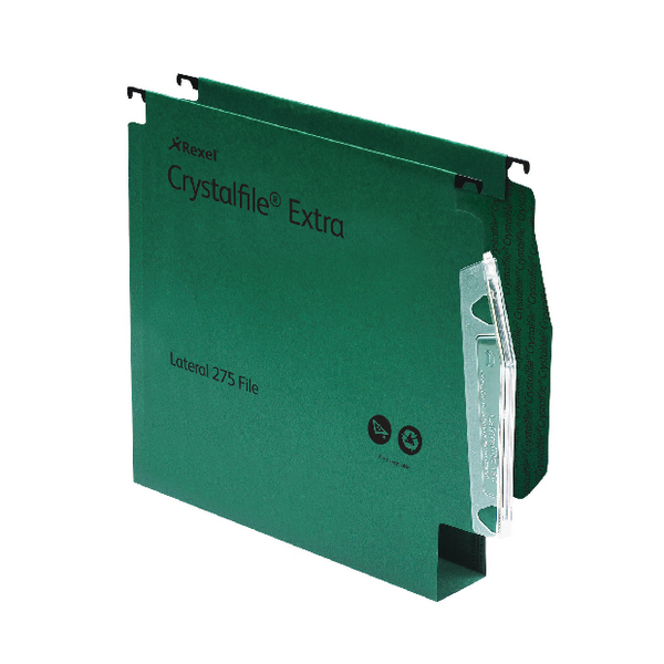Rexel CrystalFile Classic Lateral Suspension File 50mm Green (Pack of 50) 71762