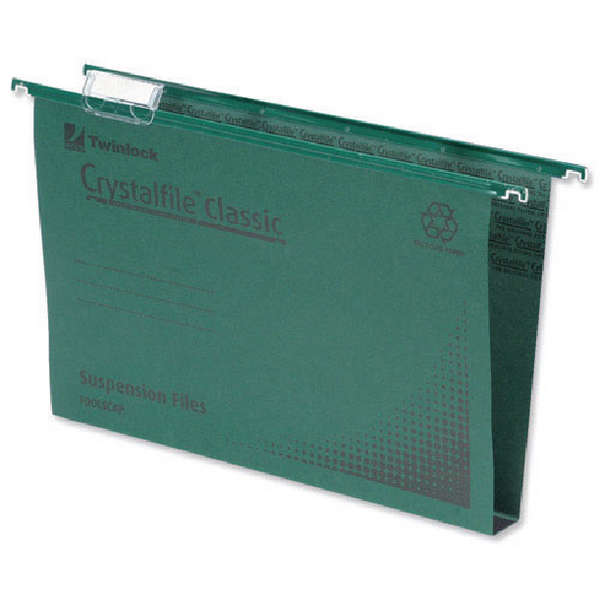 Rexel Crystalfile Classic Complete 30mm Foolscap Green Suspension File (Pack of 50) 78041