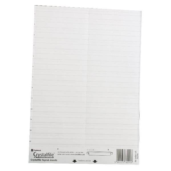 Rexel Crystalfile Classic Linked Top Tab Inserts White (Pack of 50) 78290