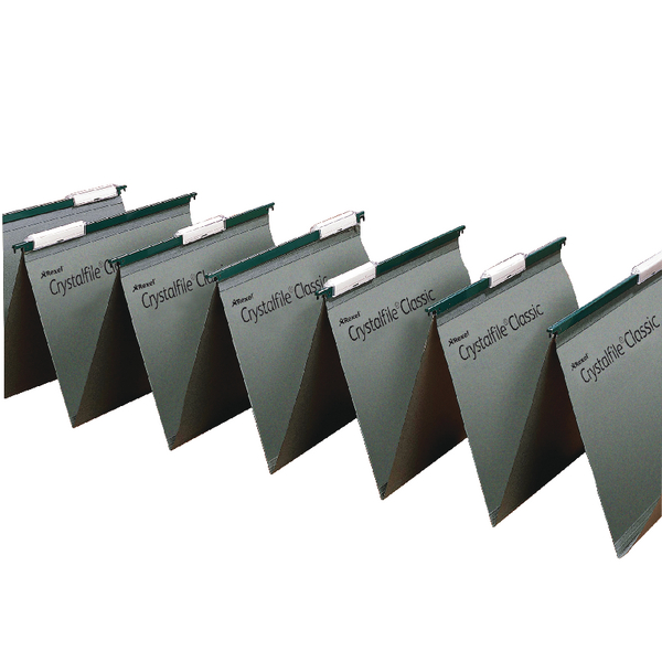 Rexel Crystalfile Linked Foolscap Green Suspension File Pack of 50 78650