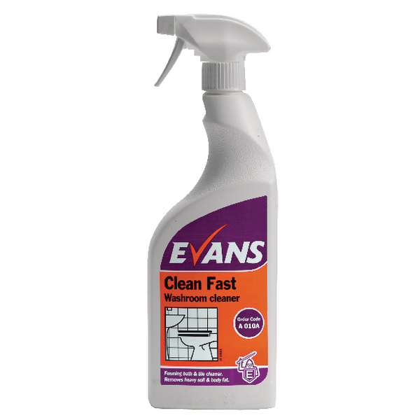 Evans Clean Fast Heavy Duty Washroom Cleaner Spray Bottle 750ml (Pack of 6) A010AEV