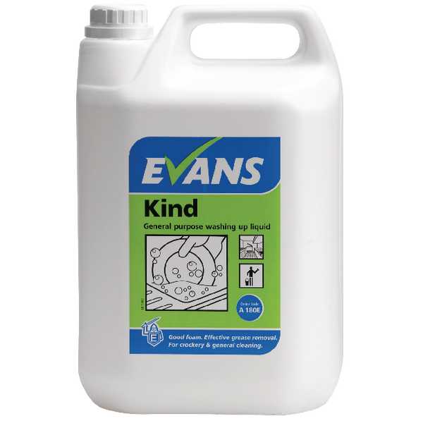 Evans Kind General Purpose Washing Up Liquid 5 Litre (Pack of 2) A180EEV2