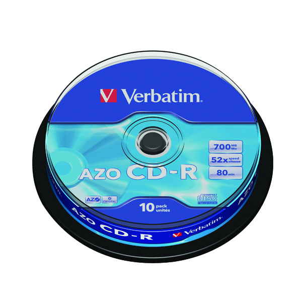 Verbatim CD-R Datalife Non-AZO 80minutes 700MB 52X Non-Printable Spindle Pack of 10 43437