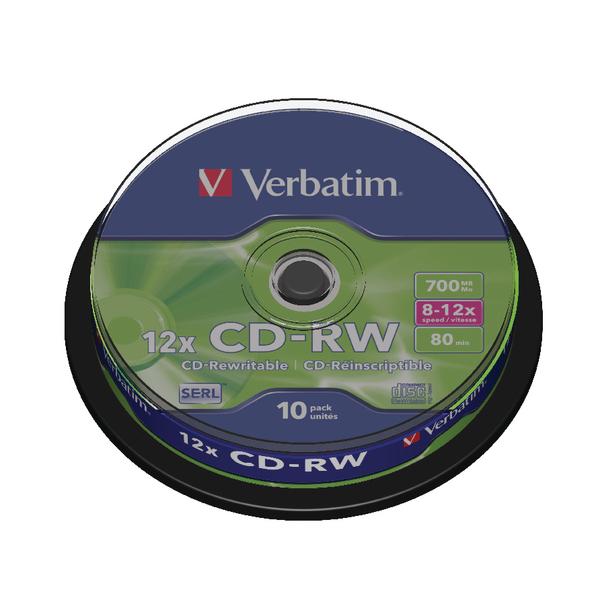 Image for Verbatim CD-RW Datalife Plus 80minutes 8-12X Hi-Speed Spindle (Pack of 10) 43480