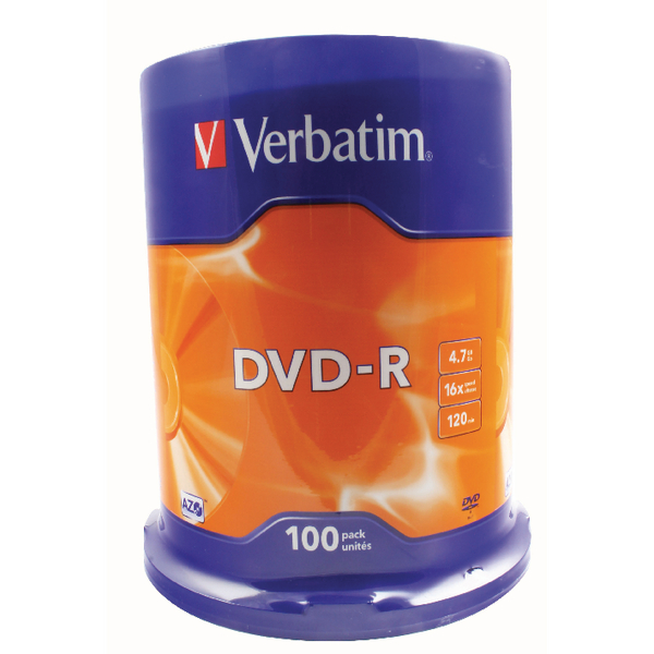 Image for Verbatim DVD-R 16x Non-Printable Spindle (Pack of 100) 43549